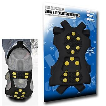 Medium - Ice Traction Universal Slip-on Stretch Fit Snø & Is pigger (håndtak Crampons Klosser) - 10 Studs - Medium