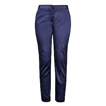 Mid Waist Pocket Detail zúžené saténové kalhoty