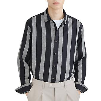 Yunyun Men's Lapel Long Sleeve Striped Fashion Button Down Casual Blouse Shirt