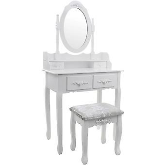 Drevený toaletný stolík klasická biela - so zrkadlom a zladenou stoličkou