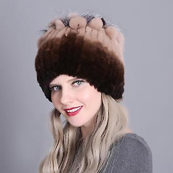 Women Fur Hat For Winter Natural Rex Rabbit Fox Fur Cap