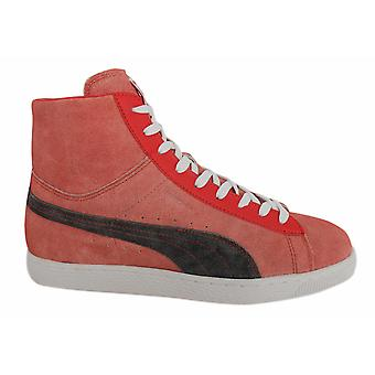 Puma Suede Mid Washed BRTS Mens Unisex Trainers Red Leather 354653 03 B66E