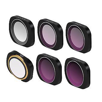 Adjustable Filter Optical Glass Camera Lens Filter MCUV+CPL+ND4+ND8+ND16+ND32 Set  Black
