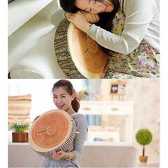 Natural Wood Design Cushion Pillow With Annual