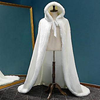 دافئ فو الفراء تقليم الشتاء الزفاف كيب مذهلة عباءات الزفاف مقنعين حزب طويل