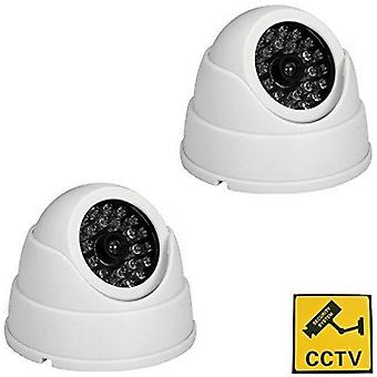 Bw 2x dummy fake surveillance security cctv dome camera with led blinking real imitation white