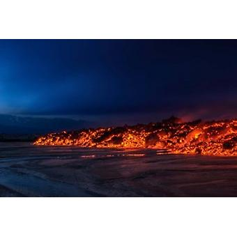 Glowing Lava Iceland Poster Print by Panoramic Images (18 x 12)