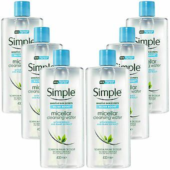 6 x 400ml Simple Water Boost Micellar Cleansing Water for Dehydrated Skin