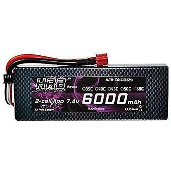 Batería 6000mah 7.4v 60c 2s hrb lipo para helicóptero avión fpv quadcopter drone piezas de repuesto negro rc coche