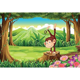 Fondo de pantalla Mural Mono por encima del tocón (