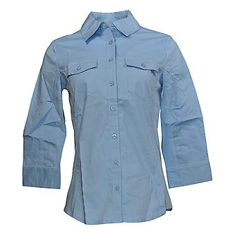デニム&カンパニー XXS ストレッチ織り ボタン フロント シャツ w/チャンブレー ブルー トップ A230278