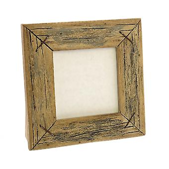 Square Wooden Frame With Textured Details, Brown