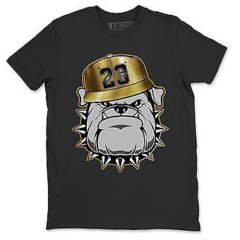 Engelska Bulldog T-shirt Jordanien 1 Metalliskt Guld Sneaker AJ1 Outfit