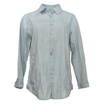 Joan Rivers Women's Top Denim W/ Back Button Details Blue A368706