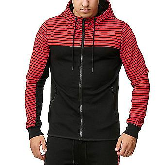 Men's Colorblock Pullover Hoodies Sports Zip Up Sweatshirt
