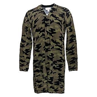 Belle By Kim Gravel mujeres's suéter estampado túnica Cardi bolsillos verdes A397586