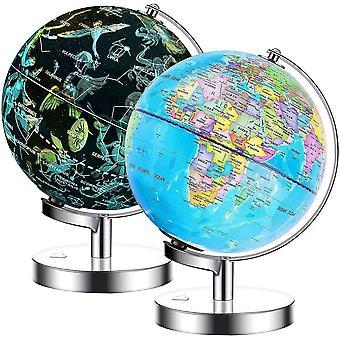 Exerz Illuminated World Globe 23cm diameter metal base - 2 in 1 Light up Cable Free LED lamp