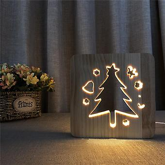 قاد خشبية ليلة عيد الميلاد ضوء USB السلطة شجرة عيد الميلاد نمط t1896w