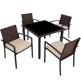 tectake hage møbler sett Meran 4 +1 - brun