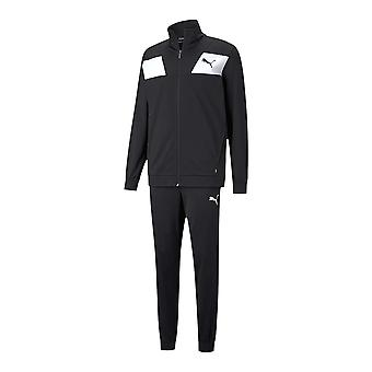 Puma Techstripe Tricot Mens Fitness Training Sports Tracksuit Set Black/White