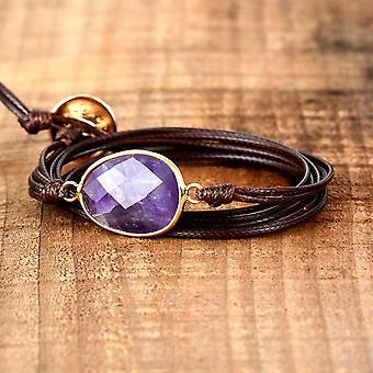 Új kötél wrap karkötő természetes kövek hosszú vegán barátság karkötő