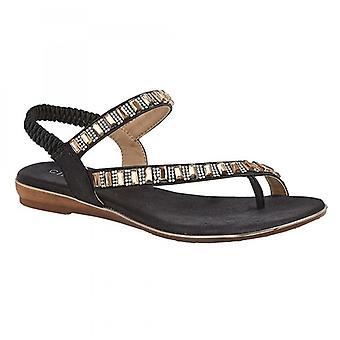 Cipriata Rita señoras joyas toepost sandalias negras