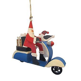 Santa Sixties Scooter Christmas Decoration