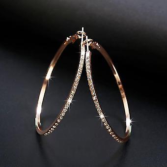Fashion Hoop Earrings With Rhinestone Circle Earrings