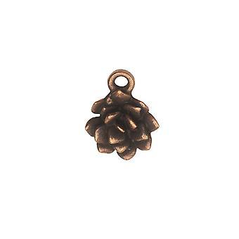 Final Sale - Metal Charm, Succulent 12x15mm, Antiqued Copper, 1 Piece, by Nunn Design