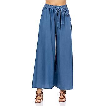 Breite Hose mit elastischer Taille und Schleife