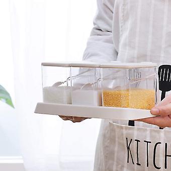 FengChun 3 Stück Würze Box Küche Gewürzbox Set Gewürzbehälter Mit Rutschfestem Tablett, Deckel und