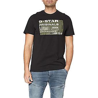 G-STAR RAW Flock Badge Grafisk T-Shirt, Dk Svart C336-6484, S Män
