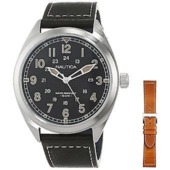 Nautische (NAVTJ) analoge horloge quartz man met lederen riem NAPBTP006