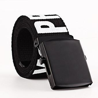 Female Casual Waist Black White Checkered Double D Ring Buckle Long Belts