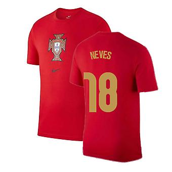2020-2021 Portugal Nike Evergreen Crest Tee (Red) - Kids (Neves 18)