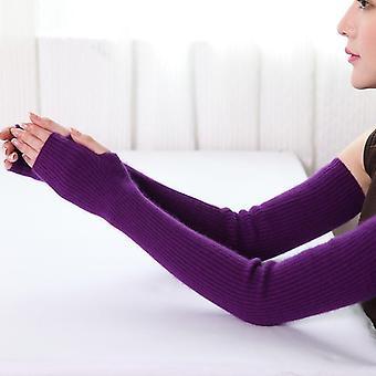 Winter Women's Mink Arm Knitted Long Fingerless Gloves