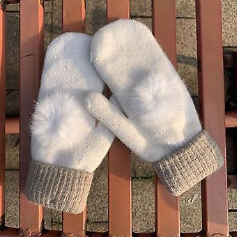 Ihana naaras talvi neule villa paksummat käsineet