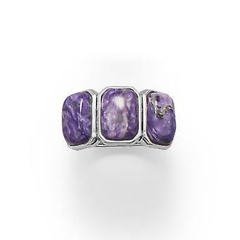925 Sterling Silver Charoite Ring Three Rectangle Stones Measures 10mm X 7mm Band Graduates From 7mm 3mm Jewelry Gifts f