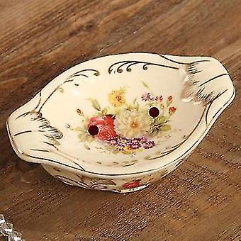 For Bathroom Portable Soap Dish Ceramics Drain Soap Box Creative Bathroom Supplies Flower Decoration WS13044