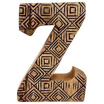 Kirjain Z käsin veistetty puinen geometrinen