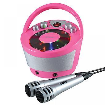 Groov-e Portable Karaoke Boombox avec lecteur CD et Bluetooth Playback Pink UK Plug