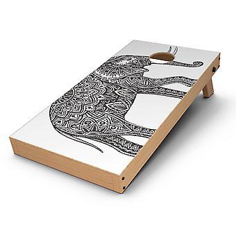 Black And White Aztec Ethnic Elephant Cornhole Board Skin Decal Kit