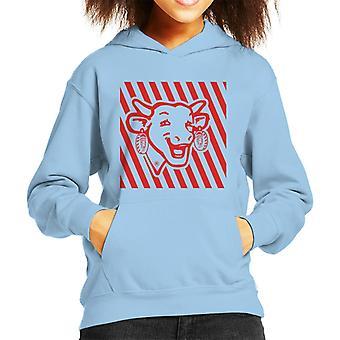 Den grinende Cow Red Stripes Kid's hætteklædte sweatshirt
