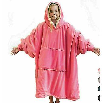 Hoodie Blanket Oversized Sherpa Giant Big Hooded Sweatshirt Warmth Pink(Pink)