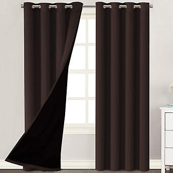 2X 100% blackout curtains window curtain panels, heat and full light blocking drapes with black liner for nursery, brown