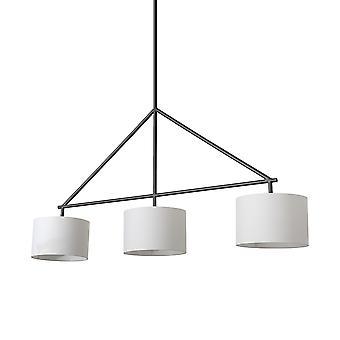 Metal enmarcado blanco sombra tres bombillas luz colgante