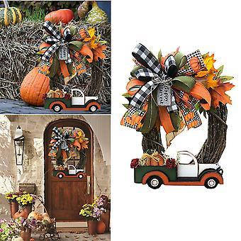 Farmhouse Pumpkin Truck Wreath Thanksgiving Harvest Autumn Nature Decoration 11.8 Inch Floral Wreath