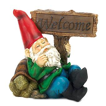 Summerfield Terrace Solar Light-Up Welcome Garden Gnome and Turtle, Pack of 1