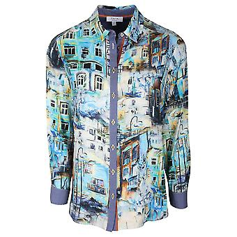 Tinta Style Blue Long Sleeve Shirt With House Print Design & Contrasting Cuffs