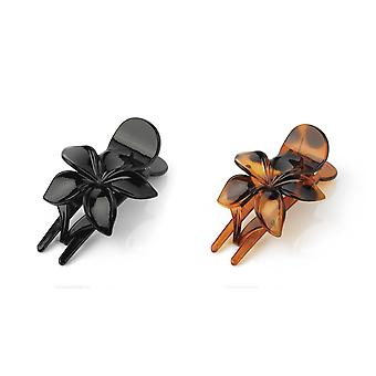 10cm Flower Design Hair Clip Barrette Black / Tort